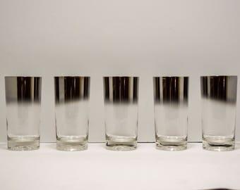 Set of five Queens lusterware glasses~ Silver Ombre~ Water glasses~ MCM~ Mad Men~Barware~Vintage~