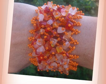 SUBLIME CUFF BRACELET weaving pearls seed beads and gems!