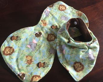 Jungle Baby bandana bib and burprag set