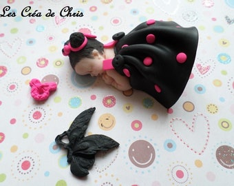 polymer clay girl baby dress with shoulder straps.