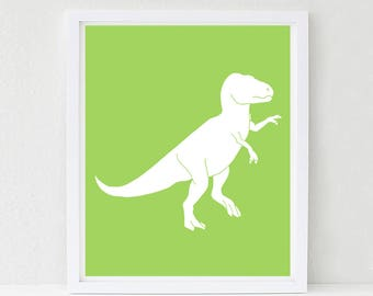Dinosaur Nursery, Wall Art, Tyrannosaurus rex,  T Rex, Nursery Decor, Kids Wall Art, Baby Shower Decor, Choose Your Custom Color