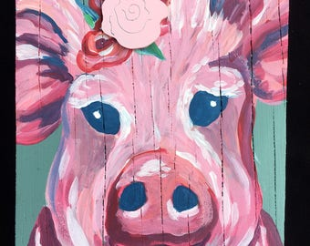 Pig Painting on reclaimed wood