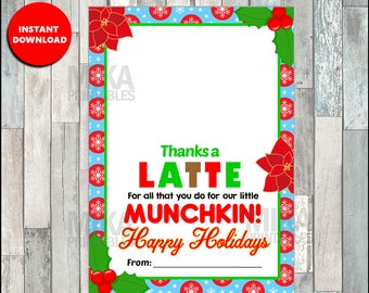 Christmas Thanks a Latte Coffee Donut Gift Card Holder Printable Teacher Gift Daycare, Teacher Gift INSTANT DOWNLOAD