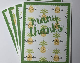 Many Thanks, Mahalo, thank You Card pack of 4