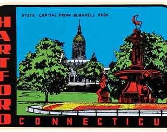 Vintage Style Hartford CT Connecticut  Travel Decal sticker