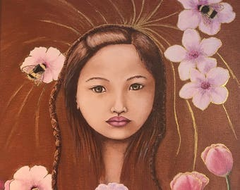 The Bee Girl Original Oil Painting on Canvas