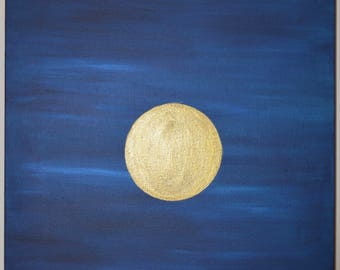 Meditate: Original Abstract acrylic painting on stretched canvas 60x42cm; Blue and Gold. Home office decor.