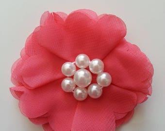 applique fleur et perles saumon  70mm
