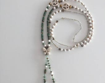 Necklace - Long Necklace - Semiprecious Stones - Butterflies - Gemstone Beads.