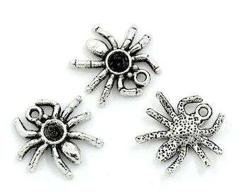 Crimp (x 4) antique silver metal spider charm