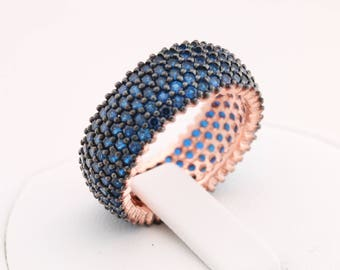 Band Ring! Handmade Turkish Special Sapphire Zircon Jewelry 5 Lines 925 Sterling Silver Rose Gold Ring for Gift for Ladies All Sizes