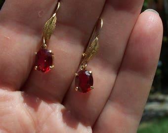 14K  solid gold Ruby earrings
