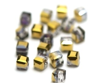 "20/60 Crystal beads ""cube"" 4 x 4 mm, Golden iridescent gray"