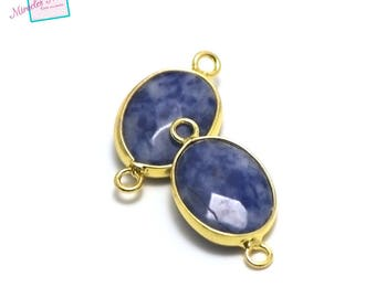 """1 """"faceted sodalite"""" Oval gemstone connector 25 x 14 x 6 mm, gold"""
