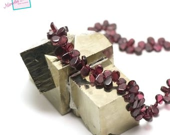 "10 Garnet beads ""mini drop flat"", natural stone"