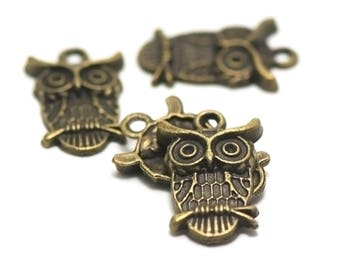 "10 charms ""owls"", 23 x 14 mm, bronze"