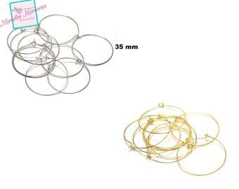20 points support earring, gold/silver 35 mm hoop earrings