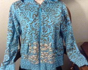 Blue Patterned Hoddie