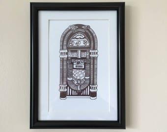 Handmade jukebox art print