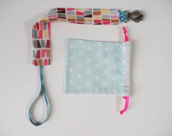 """Colorful"" fabric pacifier clip"