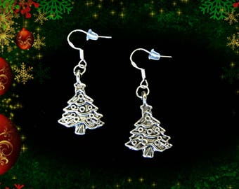 Christmas Tree Earrings..Silver Christmas Tree Jewelry..Christmas Earrings..Holiday Earrings..Holiday Jewelry.Christmas Gift For Her Under 5