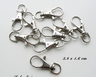 5 lobster clasps / clasps in silver, swivel demi-ovale form: 3.8 x 1.6 cm