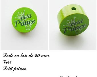Wooden bead with 20 mm flat bead, little prince, Crown: Green