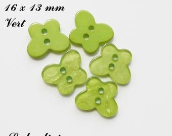 Set of 5 Butterfly buttons 2 holes for 16 x 13 mm smooth: Green