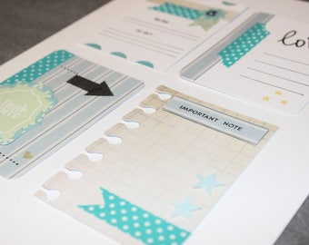 cards journaling matching set of 4 turquoise shades for scrapbooking, journaling, planners
