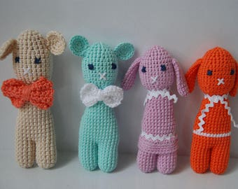 Hand crocheted sheep and rabbits