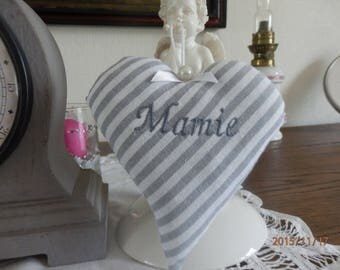 "heart ""Nana"" in gray and white striped cotton"