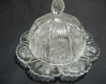 Antique Higbee Thistle Pattern Butter dish - EAPG