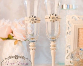 Wedding champagne glasses ivory and peach toasting flutes wedding flutes