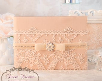 Peach wedding guest book, wedding guest book