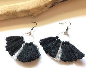 Earrings tassel earrings, black and silver & silver tassel pom pom pom pom crochet black earrings