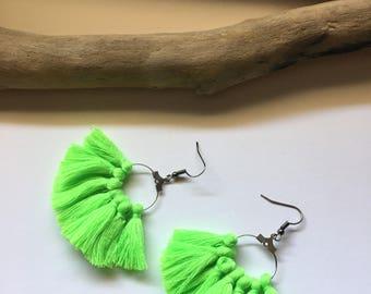 Earrings tassel earrings green & silver tassel pom pom pom pom crochet black earrings