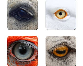 Set of 4 Eyes drinks coasters featuring award winning photography by UniquePhotoArts.