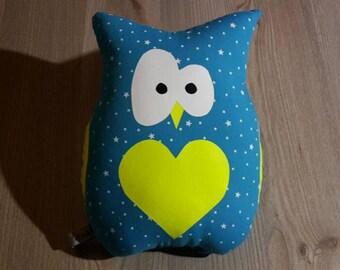 stuffed OWL in Blue Lagoon louisette