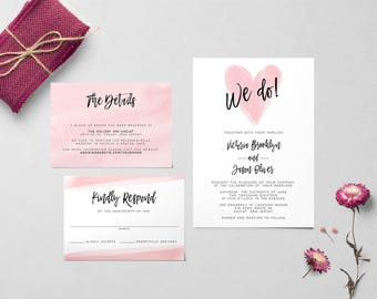 Watercolor Heart Wedding Invitation   Printable