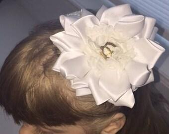 4 Inch, Satin, White flower on white elastic headband