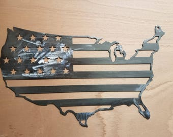 Usa, American flag, stars and stripes, shiny metal, clearcoated.