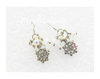 Ski or winter snow star, snowflake sterling silver, shades of white pearls and swarovski critaux