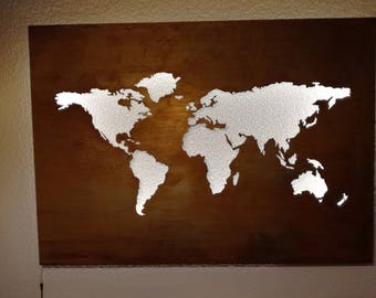 Map of the world steel 140 cm x 100 cm