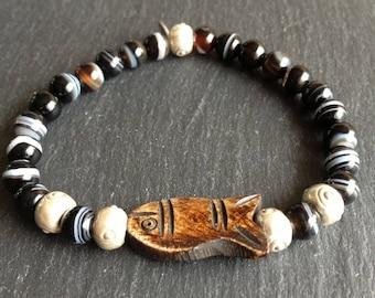 Mens dad Sea Wolf, fish bone beads, gemstones bracelet zoned agate Black Brown cream e
