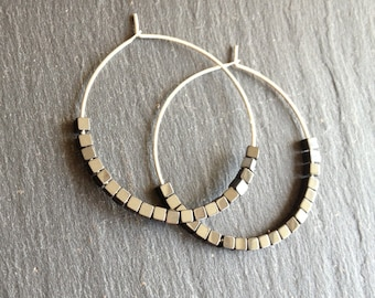 hoop earrings shiny hematite