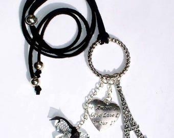 Paris silver 80 cm black faux suede necklace