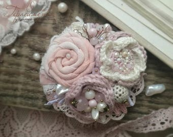 Textile jewelry, fabric brooch, pink brooch, brooch knitted, textile brooch, free shipping, flower accessories