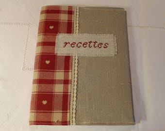 set protects notebook and country red linen and checked notebook
