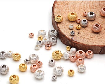 Sterling Silver Beads Laser Cut 4mm Pack of 10, 2 Hole, Frosted/sparkle Finish