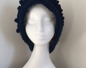Navy and plush grey/silver slouchy beret